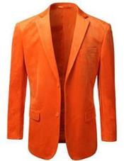 Nardoni Brand Mens American Regular-Fit 2 Button Velvet Blazer Orange