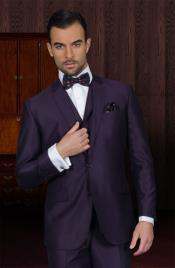 3 Piece 2 Button Mens Suit And A Vest Plum ~ Eggplant Business Suit
