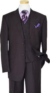 Lapel Solid Very Dark Purple With Very Dark Purple Hand-Pick Stitching Super 150S Wool Vested three piece