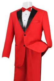 Stylish 2 Button Tuxedo Red and Black