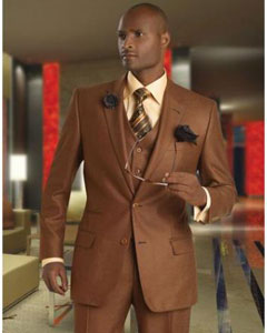 Solid Vested 3pc 2 Button Copper~Rust Suit  - Three Piece Suit