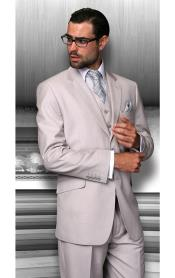 Notch Lapel Two Buttons Side Vented Vested No Pleated Pants Solid Sand