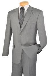 Mens 2 Button Light Grey ~ Gray Stripe Suit