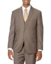 2 button Mini Pinstripe Vested 3 Piece Suits Side Vents Tan