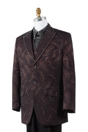 Unique Brown Paisley Blazer Looking 2 Button Tuxedo Trimmed Pleated Pants Vested 3 Piece Fashion Suits