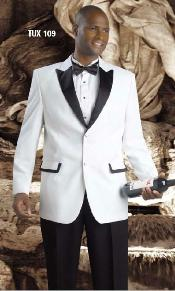 Mens White Dinner Jacket Tuxedo Fashion Dress Suit  Blazer With Free Black Pants Black Lapeled Peak