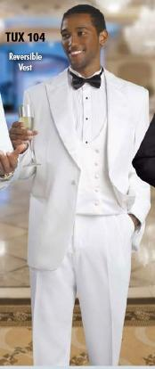 Mens 2 Button Tuxedo White Suit