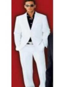 2 Button Wool Blend Fabric Stylish White Suit