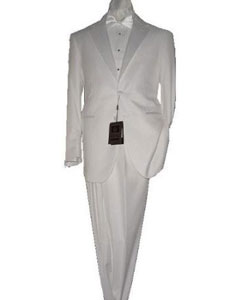 White 2 Button Tuxedo Super 150s Fabric suit