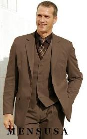 Btn Three Piece Vested Coffe~CoCo Brown Wool Suit Notch Lapel