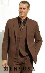 Quality Chocolate Brown 2 Btn Vested Poly Rayon Three Piece Suit Notch Lapel