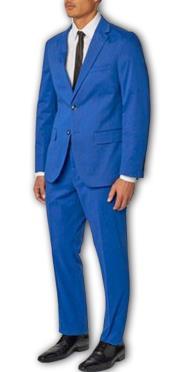 Mens French Blue 100% Cotton Two Piece Suit
