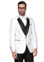 Mens Blacked Lapel Two Toned Suit Tux Jacket + Pants &