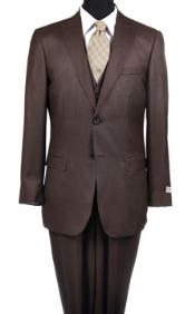 Reg:795 On Sale $249 Two Button Vested Peak Pointed 3PC Wool Suit