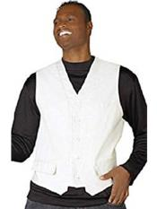 White 5 Button V-Neck Fashion Dress Tuxedo Wedding Vest ~ Waistcoat