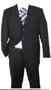 Mens Black Solid Wool