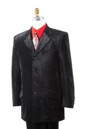 Mens Textured Mens Velvet Suit Black Zoot Suit