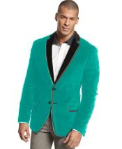 Blue Stage Party Mens Formal Tuxedo Sport Coat Jacket ~ Two Tone Trimming Notch Collar Turquoise ~