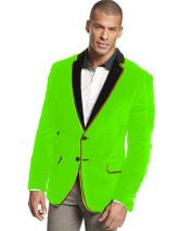 Velvet Velour Blazer Formal Tuxedo Jacket Sport Coat Two Tone Trimming Notch Collar lime mint Green