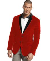 Tone Trim Notch Collar ~ Red Velvet Velour Formal Blazer Tuxedo Jacket~Sport Coat