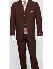 Mens Poly Poplin Brown 3 Piece  Matching Vest Dress Suit