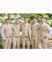 Groomsmen Linen Vest & Pants Set (No Jacket) Natural Sand Tan or