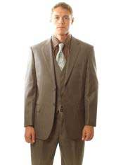 Mens 2 Button Taupe Pinstripe Vested 3PC Cheap Priced Business Suits Clearance
