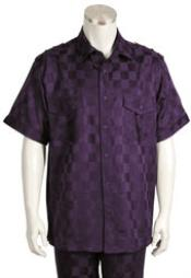 Short Sleeve 2piece Violet Casual Walking Suit