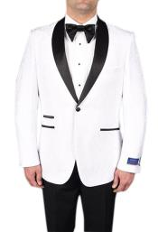 Mens White 1 Button Tuxedo Modern Geometric Pattern Super 150s Viscose Blend