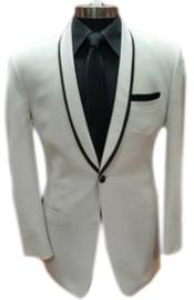 1 Button White Shawl Lapel Black
