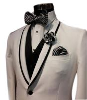 Mens Trimmed Black / White Stripe