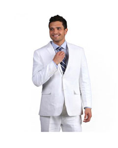 White Notch Lapel Classic Linen 2 button Double Vent Suit