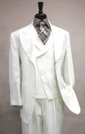 Creme Vested 6 button Single Breasted Suit Jacket Satin Striped with