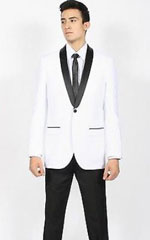 Mens White Black Shawl Collar Slim Fit Kids Sizes 2 Piece Perfect