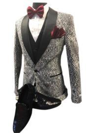 Mens Black Shawl Lapel fashion vested tuxedo suit paired with shiny black Stylish Dress Loafer