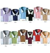 Classic Stylish Fashionable Dress Shirt -White Collar Two Toned Contrast white collars Multi-color