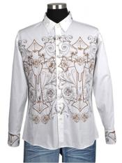 Mens Casuasl Shirt With Embroidered Design By Milano Moda Style SG37