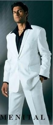 White Suits For Men With Flat Front No Pleat Pants With