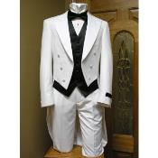 Tail Tuxedo jacket and pant combination White