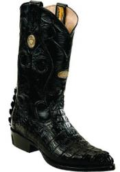 White Diamonds Handmade J Toe Genuine caiman tale Black Boots