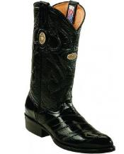 White Diamonds Handcrafted Genuine Eel Skin Black Boots
