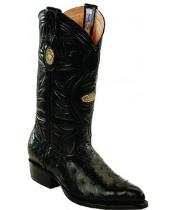 White Diamonds Handcrafted Genuine Full Quill Ostrich Black Boots