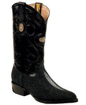 White Diamonds Genuine Stingray mantarraya skin J Toe Black Boots