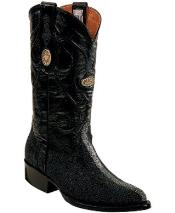 White Diamonds Genuine Stingray mantarraya skin Full Leather Lining Black Boots