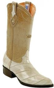 White Diamonds Handmade J Toe Genuine Eel Skin Bone Boots