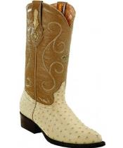 Mens White Diamonds Handcrafted Genuine Full Quill Ostrich Bone Boots