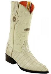 Mens White Diamonds Single Stitched Welt Genuine caiman tale Bone Boots