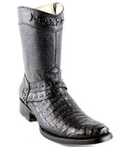 Mens White Diamonds Short Caiman Belly European Toe Fashion Boots Black