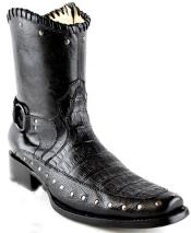 Mens White Diamonds Short Caiman Belly European Square Toe Fashion Boots Black