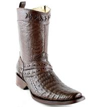Mens White Diamonds Short Caiman Belly Leather Lining Fashion Boots Brown